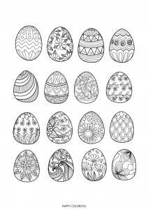 Раскраска  пасхальные яйца с разными узорами