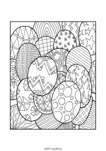 Раскраска пасхальные яйца с узорами