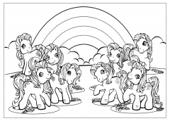 Пони на Фоне Радуги