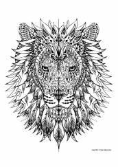 Раскраска антистресс голова льва
