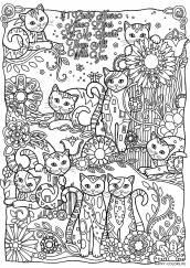 Раскраска антистресс кошки