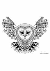 Раскраска антистресс летящая сова