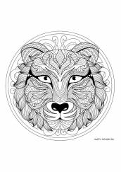 Раскраска антистресс лев мандала
