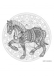 Раскраска антистресс лошадь мандала