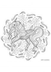 Раскраска антистресс лошадь на фоне листьев