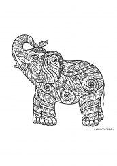 Раскраска антистресс маленький слон
