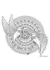 Раскраска антистресс мандала птицы