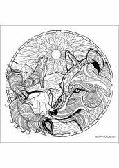 Раскраска антистресс мандала волк и луна
