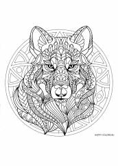 Раскраска антистресс мандала волк