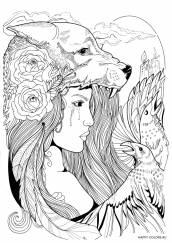 Раскраска антистресс девушка волк