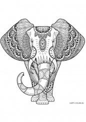 Сложная Раскраска антистресс слон