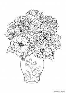 Разные цветы в вазе