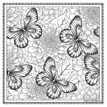babochki-na-fone-cvetov-raskraska-antistress-raspechatat-format-A4