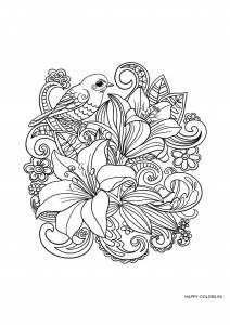Цветы и птица