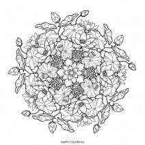 Мандала композиция из цветов