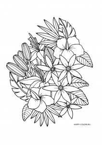 Небольшая композиция с цветами и листьями