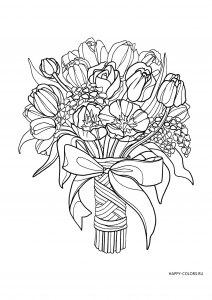 Раскраска антистресс букет цветов
