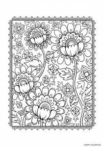 raskraska-antistress-cvety-na-fone-s-ramkoj-raspechatat-format-A4