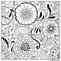 Раскраска антистресс фантазийные цветы