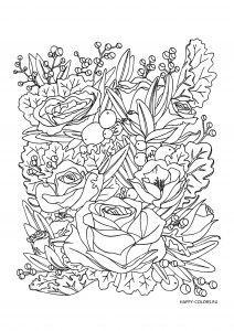 Розы, листья и ягоды