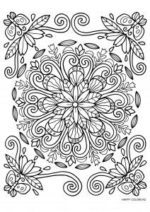 Узор с цветами и бабочками