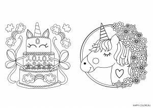 Единорог и торт раскраска