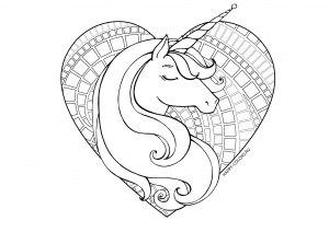 Единорог в сердечке раскраска