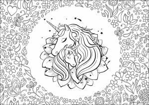 Единорог с цветами раскраска