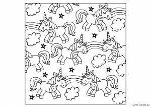 Единороги с радугой детские раскраски