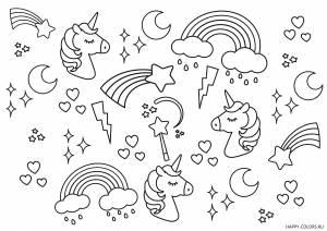 Единороги, звезды и радуга раскраска