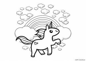 Единорожка, радуга и облака