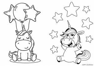 Милый единорог с шариками и звездами легкая раскраска