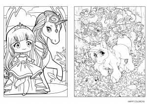 Раскраски единорог с принцессой  для девочек
