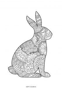 Кролик зентангл