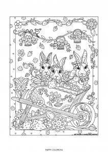 Раскраска 3 зайца с цветами и клубника