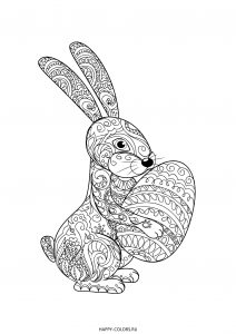 Раскраска зентангл Пасхальный кролик