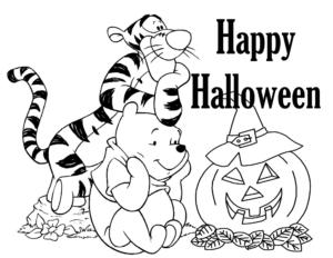 Раскраска на Хэллоуин от Дисней Винни Пух и Тигра