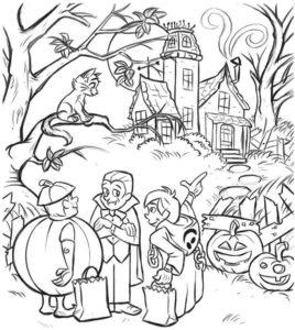 Раскраска Дом с Привидениями Хэллоуин Распечатать