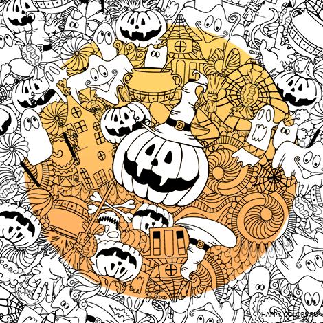 Раскраска Дудлы Хэллоуин