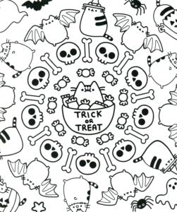 Раскраска Распечатать Хэллоуин Дудл с Котятами