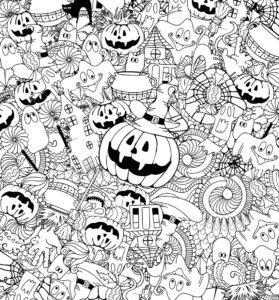 Раскраска Распечатать Хэллоуин дудл