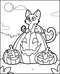 Раскраска Хэллоуин Котенок с тыквами