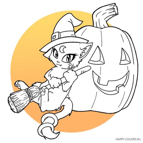 Раскраска Хэллоуин Тыквы для Детей