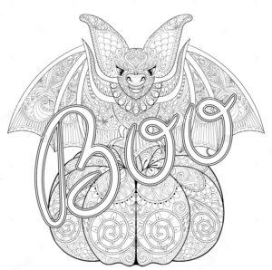 раскраска хэллоуин тыква и летучая мышь