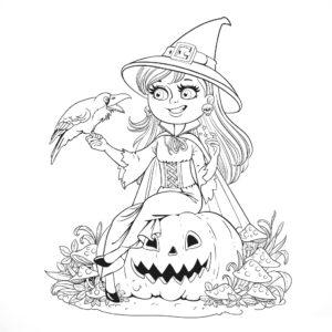 Раскраска Хэллоуин Милая Ведьмочка и Тыква Распечатать