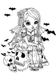 Раскраска Хэллоуин Милая Ведьмочка и Череп Распечатать