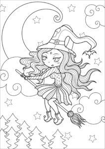 Раскраска Хэллоуин Милая Ведьмочка на Метле Распечатать