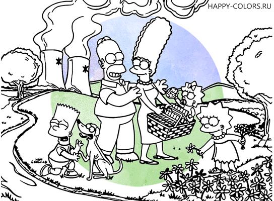 Раскраска Симпсоны The Simpsons