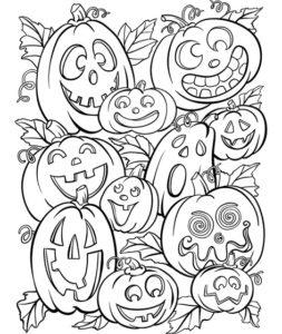 Раскраска Распечатать Хэллоуин Тыквы