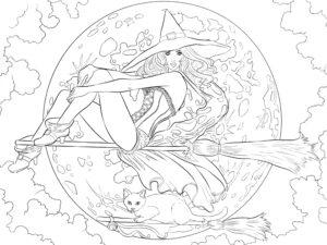 раскраска хэллоуин ведьма кошка и полная луна